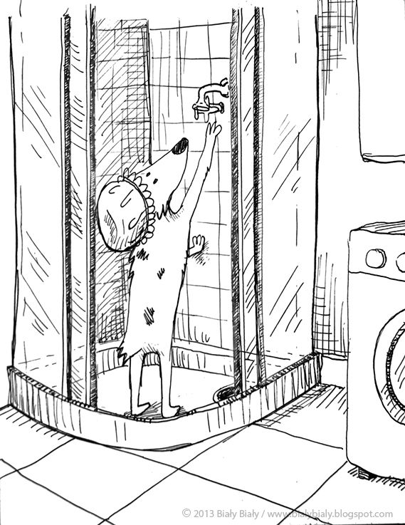 #dog #illustration Shower time