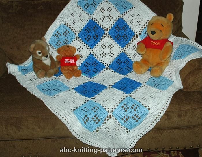 ABC Knitting Patterns - Square Motif Baby Blanket