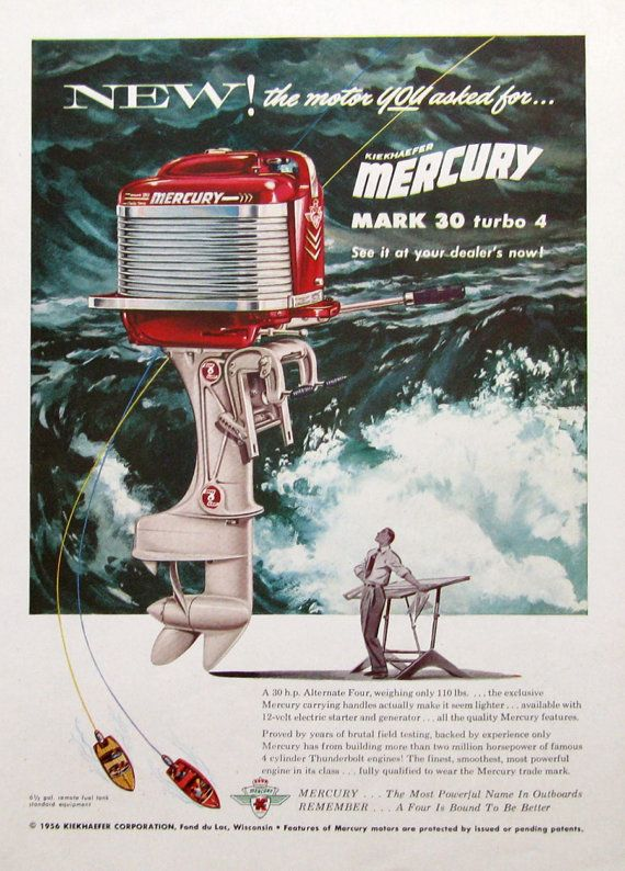 Vintage 1950s ad for Mercury Mark 30 outboard motor  A designer envisions his latest motor design - the Mercury Mark 30 turbo 4, larger than life. The water crashing in the background is such a cool effect. Published in November, 1955, this vintage Mercury motor ad measures 8 x 11. Its in fantastic condition with very faint print from the other side - easy to hide with black paper as I did for photos here. This great vintage Mercury ad would make a thoughtful gift for someone who collects…