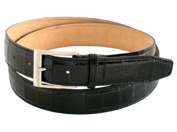 Black stylish genuine eel men's belt buckle satined heigth 1,37 inch