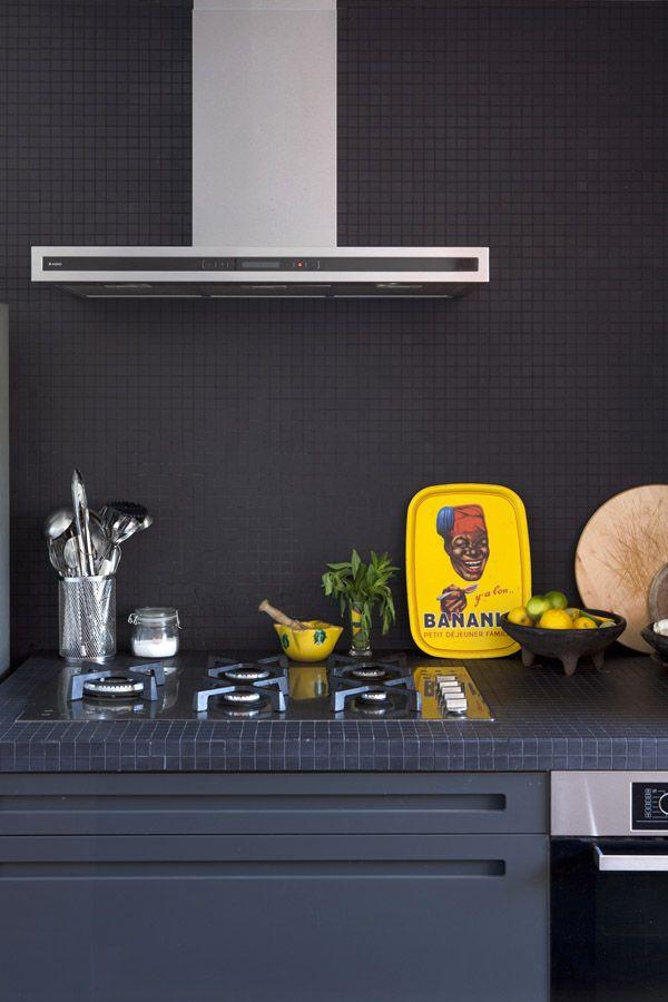 Kitchen inspiration, black matt mosaic tiles | home of Nicola & Orlando Reindorf via the design files