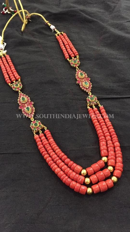Gold Coral Necklace Designs, Gold Coral Mala Designs, Long Gold Coral Mala Necklace Collections