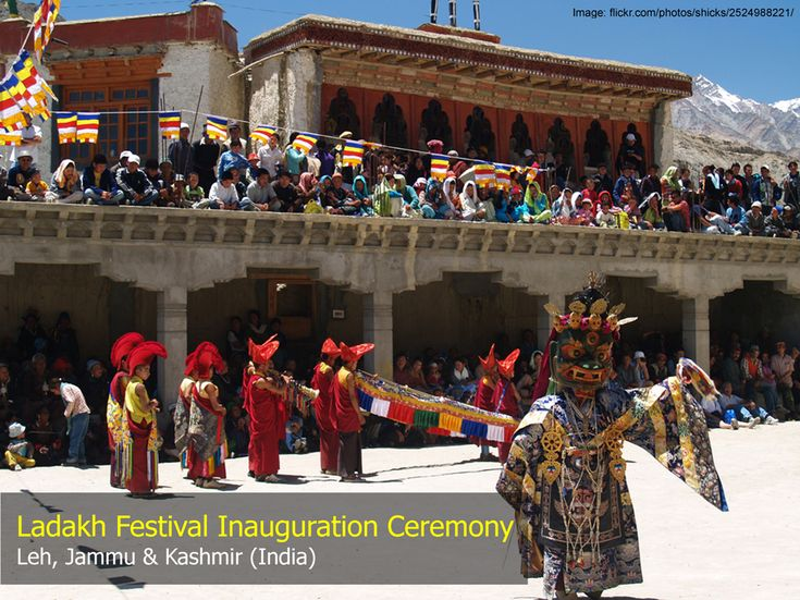The inauguration ceremony of the Ladakh Festival (Sep 1 - 15) takes place in Leh on large scale with dancing, singing, traditional music, and troupes in colorful traditional Ladakhi dresses. The festival finishes with a a traditional Polo match. #Ladakh | #India | #JammuandKashmir