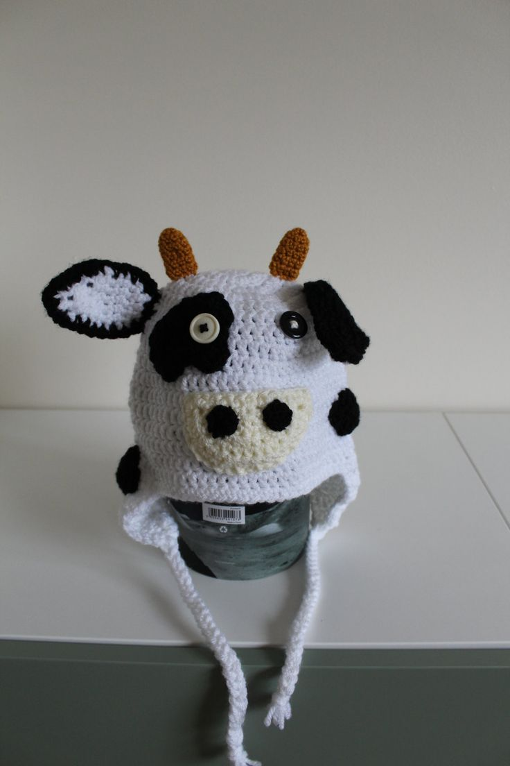 Ladies handmade cow hat with earflaps, crocheted beanie, present for sister, gift for female friend, animal hat, novelty hat by serendipitygiftfinds on Etsy