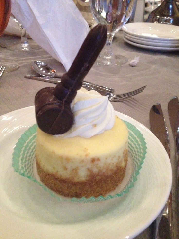 At the Market Warriors lunch. The dessert was cheesecake with a solid chocolate gavel! #PBSam