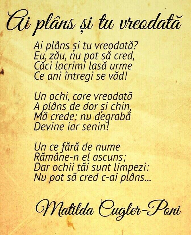 poezii de suflet, poezii romanesti, poezii de Matilda Cugler-Pani