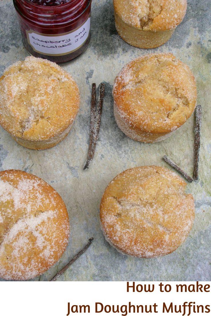 Jam Doughnut Muffins with chocolate raspberry jam - baked not fried. #muffins #doughnuts #duffins