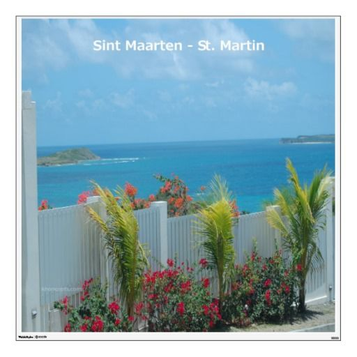 Eye catching large wall decal of  the Caribbean ocean over a white picket fence in Sint Maarten - St. Martin Seascape. Great for home or office!  $141.00