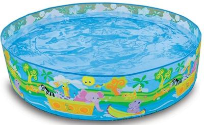 Vrolijk kinderzwembadje met semi harde rand.Gemaakt van stevig vynil.Met duidelijke gebruiksaanwijzing op de doos, inclusief reparatiesetje.Afmeting: 122 x 25 cm. -