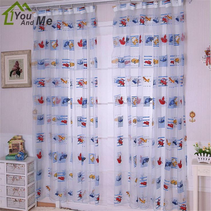 Home Textile Cartoon Car Printed Tulle Voile Curtain Mordern Children Room Bedroom Living Room Window Curtain Sheer 100*200cm #Affiliate