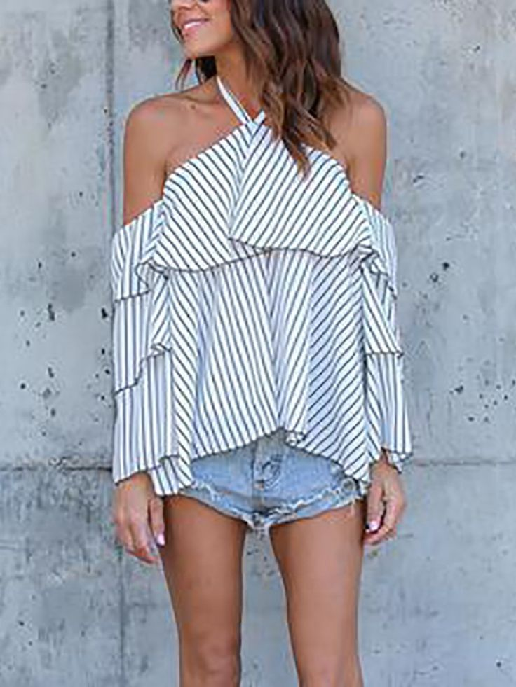 Ruffled Halter Pinstriped Layered Sleeve Casual Blouse