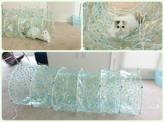 DIY Cat Tunnel - shower curtain & metal clips
