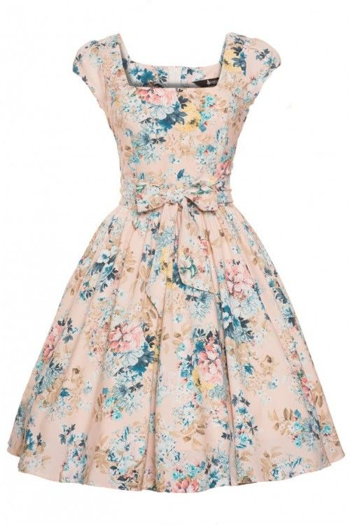 Lady V Angel Pink Floral 50s Swing Dress : Jurken - Retro en Vintage kleding online | Looks Like Vintage