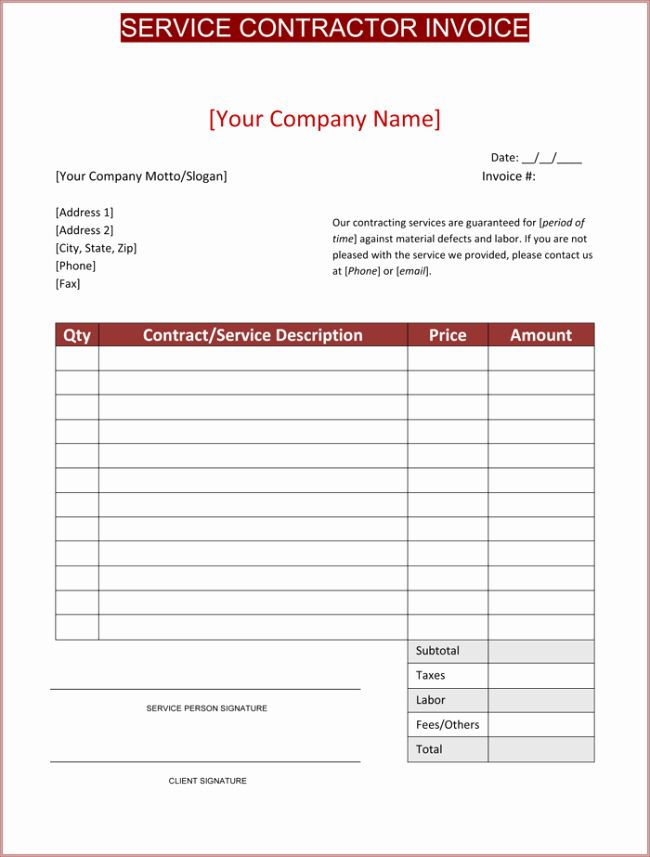 40 Contractor Invoice Template Free In 2020 Invoice Template