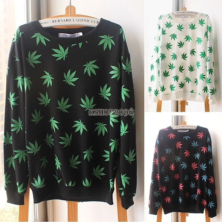 Fashion Womens Girls Hemp Leaf Casual Long Sleeve Shirt Crewneck Sweatshirt Tops