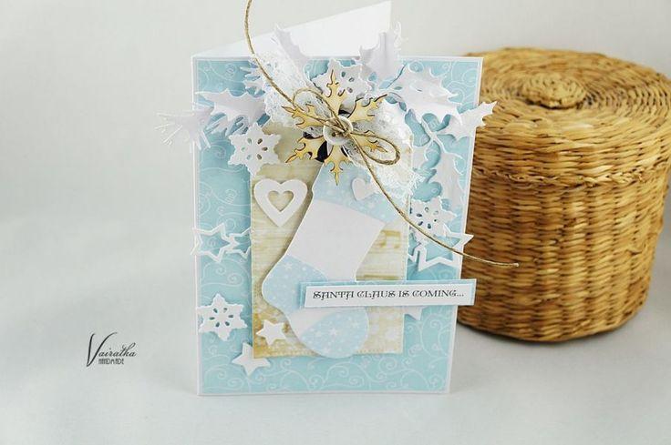 Skarpeta na prezenty – Kartki bożonarodzeniowe - kolor: kość słoniowa, szaroniebieski, biały, wymiary: 10,5*15cm – Artillo