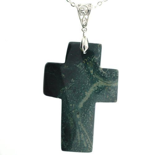 """Kambaba Jasper Cross Pendant -Approx 60mm x 41mm -Stone Colors May Vary -18"""" Silver Plated Link Chain Included Pacific Spirit. $19.95"""