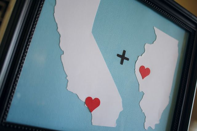 Map Art Idea: This would be fun for a Host Family to make for an Au Pair's arrival using the US (or State) and Home Country. Or would be a fun souvenir for the Au Pair to make. http://adiamondinthestuff.com/2012/05/home-town-love-anniversary-gift.html
