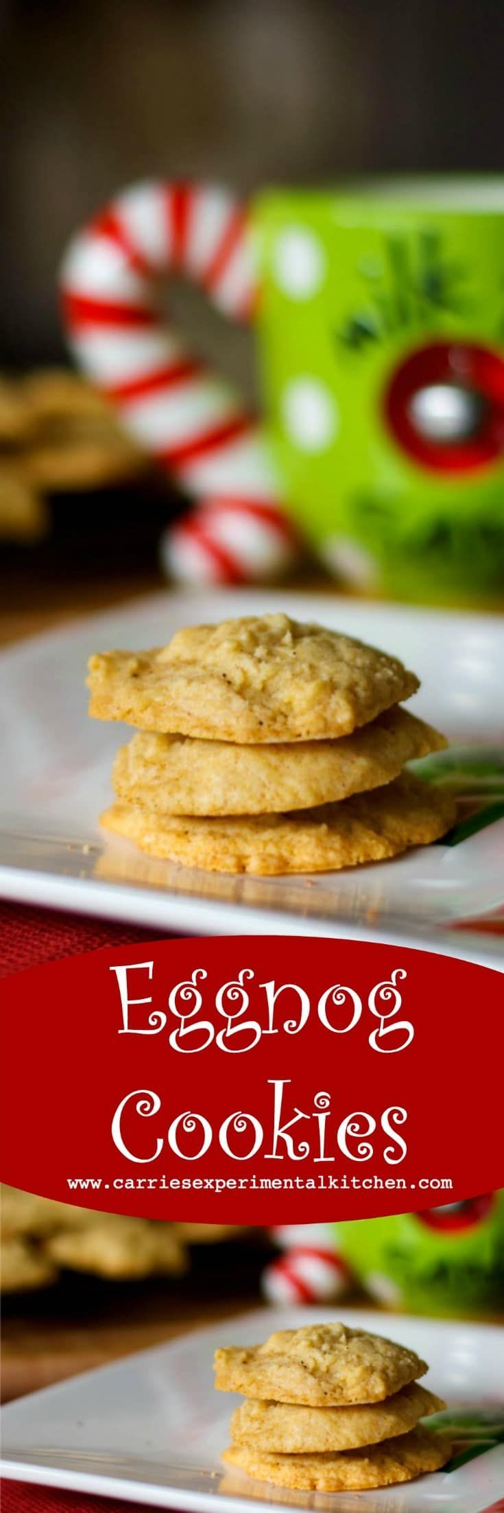 """Don't forget to leave a plate of cookies out on Christmas Eve. The """"big guy"""" looks forward to these soft and chewy Eggnog Cookies, made with creamy eggnog, cinnamon and nutmeg every year. #cookies #eggnog #christmascookies #christmas #baking"""