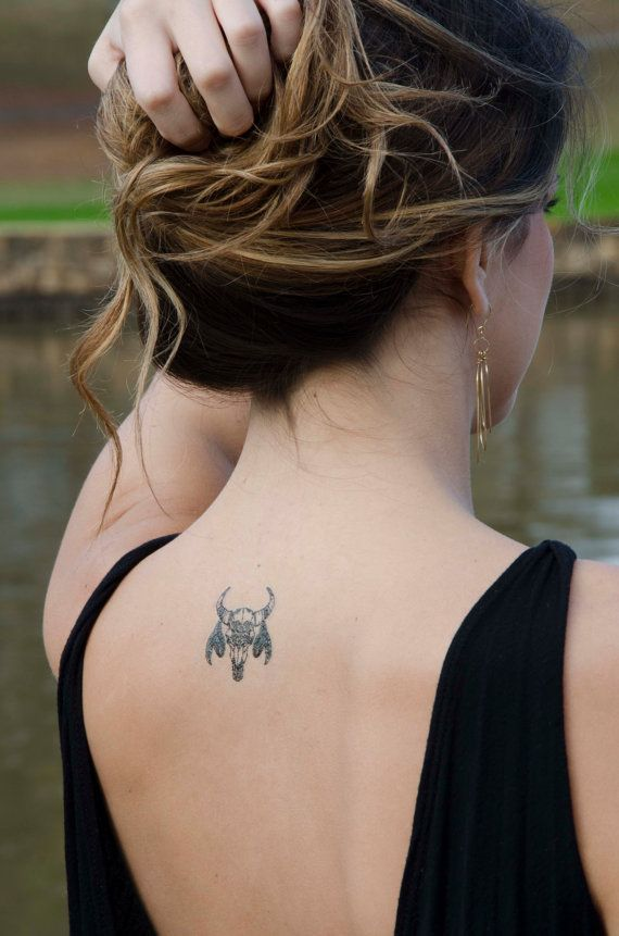 Western Tattoo, Bohemian Black Bull Skull Tattoo, Skull with Turquoise Feathers Temporary Tattoo