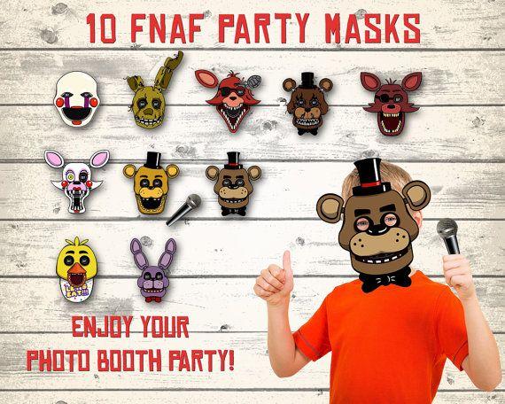 FNAF masks FNAF photo booth Five Nights at by DigitalBirthdayParty