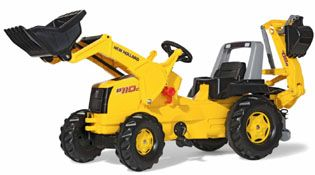 New Holland Backhoe Loader Pedal Tractor -  High impact blow molded resin body. Front Lifting Hood for extra play value. Oversized resin tires with a long lasting rubberized tread strip. 2 position adjustable seat. Real working Front Loader. Backhoe Digger .