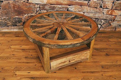 Wagon Wheel Dining Table | Teak Wagon Wheel Coffee Table with Glass