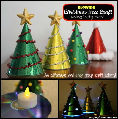 Glowing Christmas Tree Craft using party hats and LED lights from Dollar store