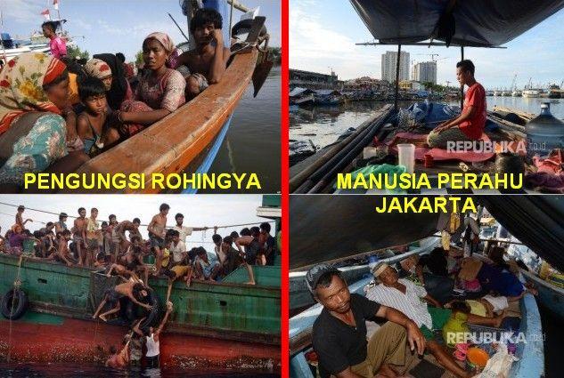 Mengenaskan Manusia Perahu di Jakarta Seperti Pengungsi Rohingya  Setelah penggusuran yang terjadi di kawasan Pasar Ikan Penjaringan Jakarta Senin (11/4/2016) lalu sebagian warga ada yang memilih bertahan di dekat reruntuhan puing. Di antara mereka menjadikan perahu yang bersandar di tepian sebagai rumah sementara. Melihat keadaan itu Ustadz Adnin Armas Ketua Muslim Cinta Jakarta (McJAK) mengaku prihatin. Ia bahkan membayangkan keadaan itu layaknya para pengungsi muslim Rohingya yang…