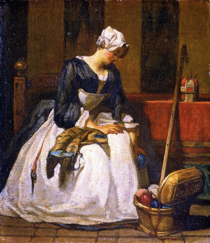 The Embroiderer  Jean-Baptiste-Simeon Chardin - 1733-1744