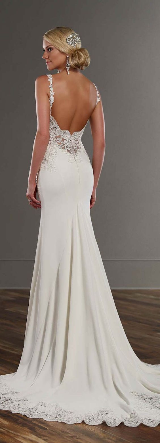 Top 25 best open back wedding ideas on pinterest open for Fitted lace wedding dress with open back