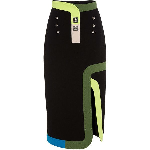 Peter Pilotto Black Ludo Skirt (820.010 CLP) ❤ liked on Polyvore featuring skirts, pencil skirt, knee length pencil skirt, peter pilotto, embellished skirt and black skirt