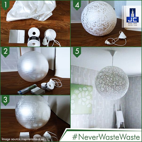 For creating this amazing lighting lamp, all you need is a balloon, a thik & flat thread and a bulb! #NeverWasteWaste, utilize everything to pep up your home!