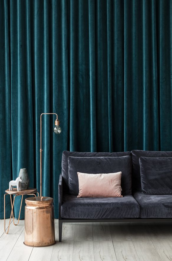 We love our new Atelier velvet on this stunning District sofa and also as this dramatic deep teal curtain backdrop! In house interior styling with cushion by Black Thread, side tables, stool and drum by District and Tuckbox, accessories by Zuster and lamp by Amalfi via Crate Expectations. Our velvet features in blush pink, inky charcoal and deep teal green for drapery.