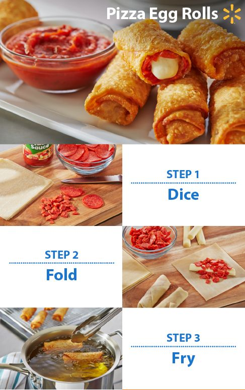Make sure you have the best Game Time goodies! These Pepperoni Egg Rolls make a great appetizer and are so easy to prepare. Just chop up some pepperoni, roll with cheese in an egg roll wrapper & fry until golden brown. Serve with pizza sauce for a fun football treat!