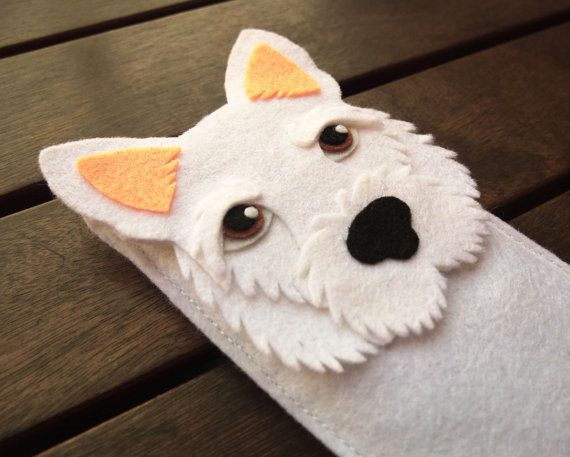 West Highland Terrier iPhone Case - Dog Felt Phone Cover -  Cell Phone Sleeve - Handmade felt case white