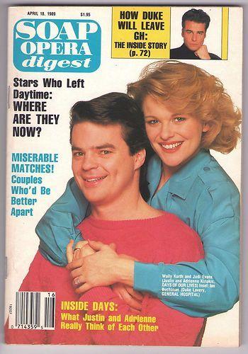 Soap Opera Digest 1989 April 18 Magazine Justin Adrienne Days Cover Wally Kurth