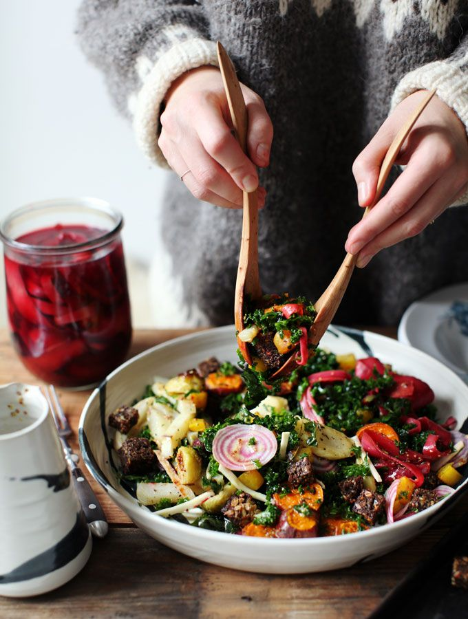winter rainbow panzanela with pickled carrots