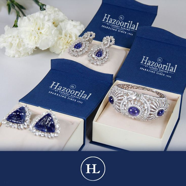 Dip in pure indulgence as you drool over these baubles only from the House of #HazoorilalBySandeepNarang #Diamonds #BlueSapphires #Studs #Earrings #Cuff #FineJewelry #HighJewelry #Hazoorilal