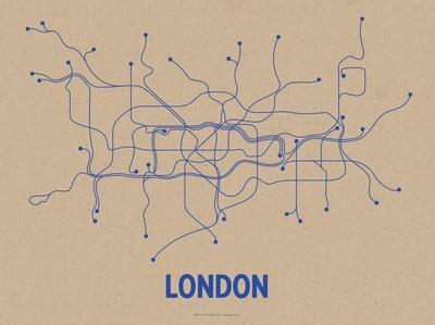 London (Oatmeal & Blue) Serigrafia von Line Posters - AllPosters.ch