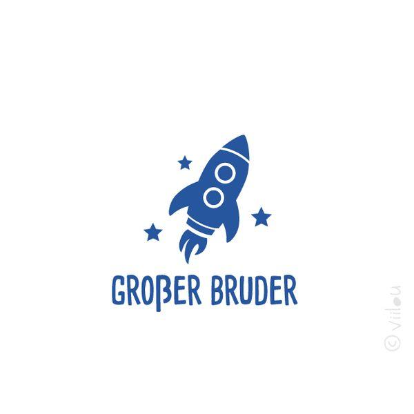 GROßER BRUDER RAKETE Bügelbild Aufbügler Applikation decal von www.viilou.de