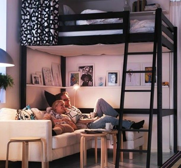 Soppalco Stora Ikea Instead of the sofa, put a twin bed underneath + storage for toys and area to hang out.