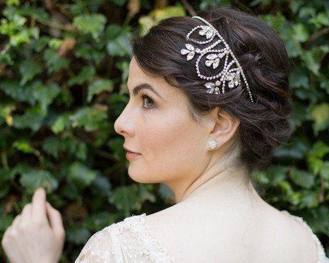Wedding Hair Bands - Wedding Headband With Swarovski Crystals And Pearls, Posy