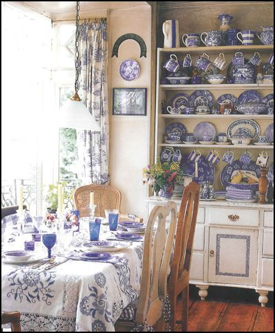 Subtle yellow makes the perfect backdrop for blue and white china