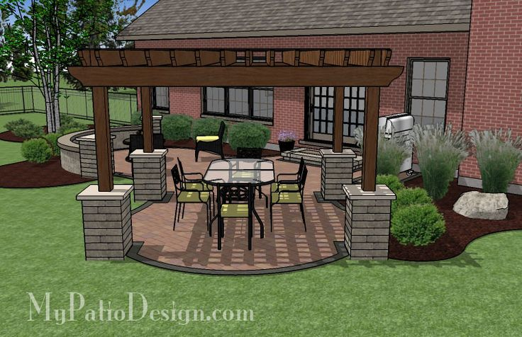 Pergola Patio Design | Patio Designs and Ideas. I like the stones around the bottom of each pillar.