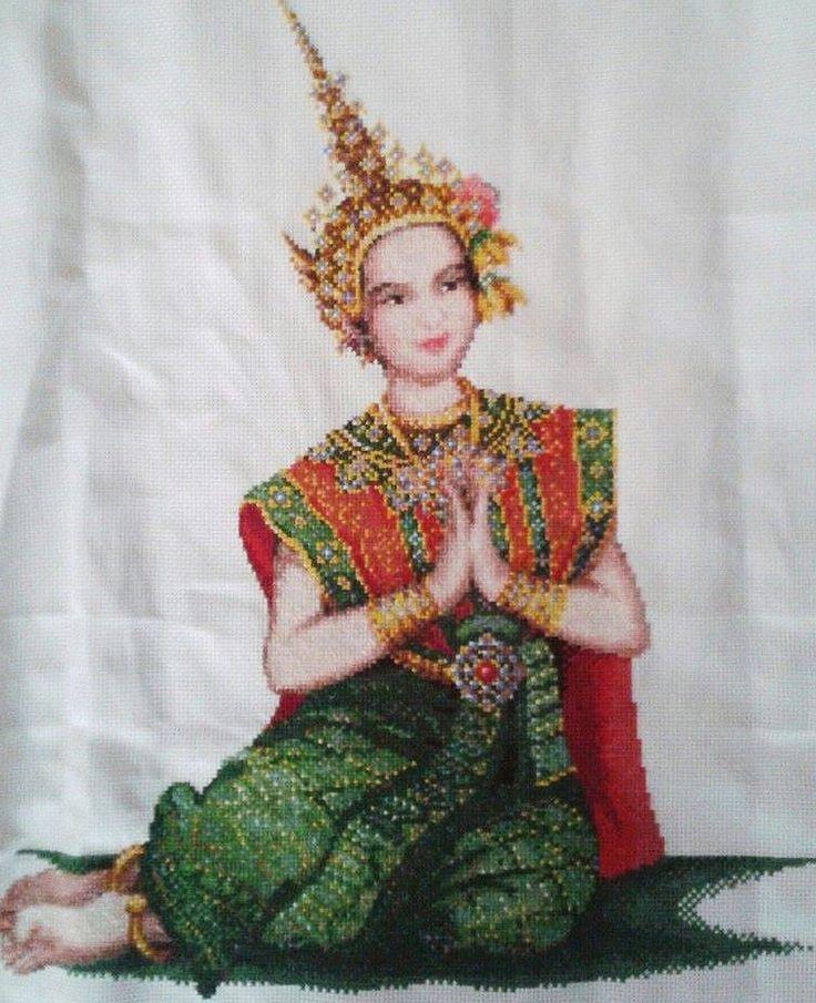 Finished handmade cross stitch /Thai Hospitality