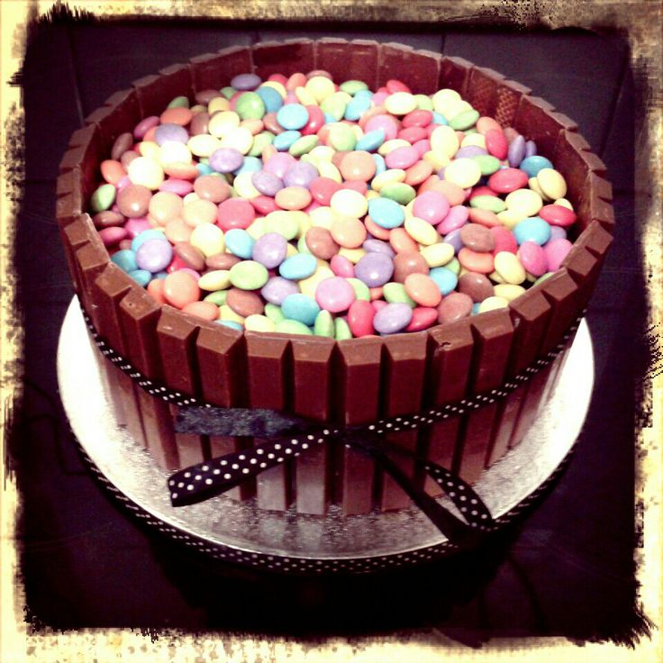 Smarties and Kit Kat double chocolate fudge cake