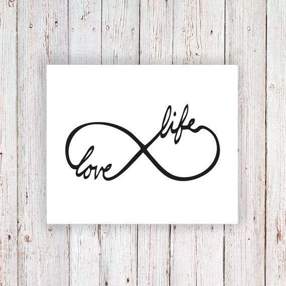 Temporary tattoo infinity symbol 'Love Life'