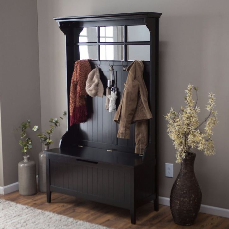 NEW Hall Tree Bench Mirror Entry Way Mud Room Wood Seat Storage Hooks Black NIB #Unknown
