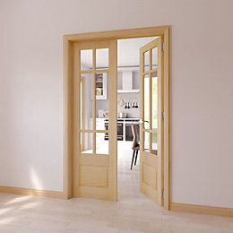 Clear Glazed 4 Panel Shaker Oak Internal French Door Set | Departments | DIY at B&Q